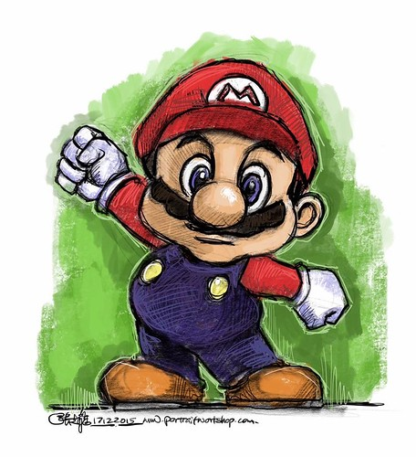 Playing with the brushes in Procreate with iPad Pro and Apple Pencil - Super Mario Bro