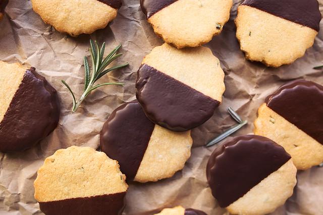 Dark Chocolate-Dipped Grain-free Rosemary Shortbread Cookies