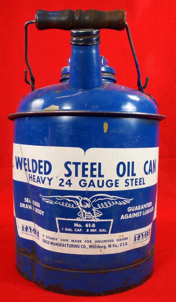 RD7979 Vintage Original Eagle Welded 24 Gauge Steel Blue 1 Gallon Oil Can DSC08053