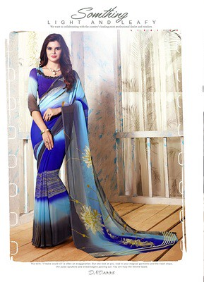 Ladysweet Heart Blue And Traditional Beautiful Looking Printed Saree Sarees on Shimply.com