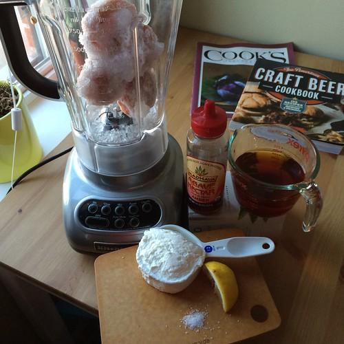 The ingredients for this smoothie. Yogurt, peaches, tea, agave nectar, lemon, salt. Yum!
