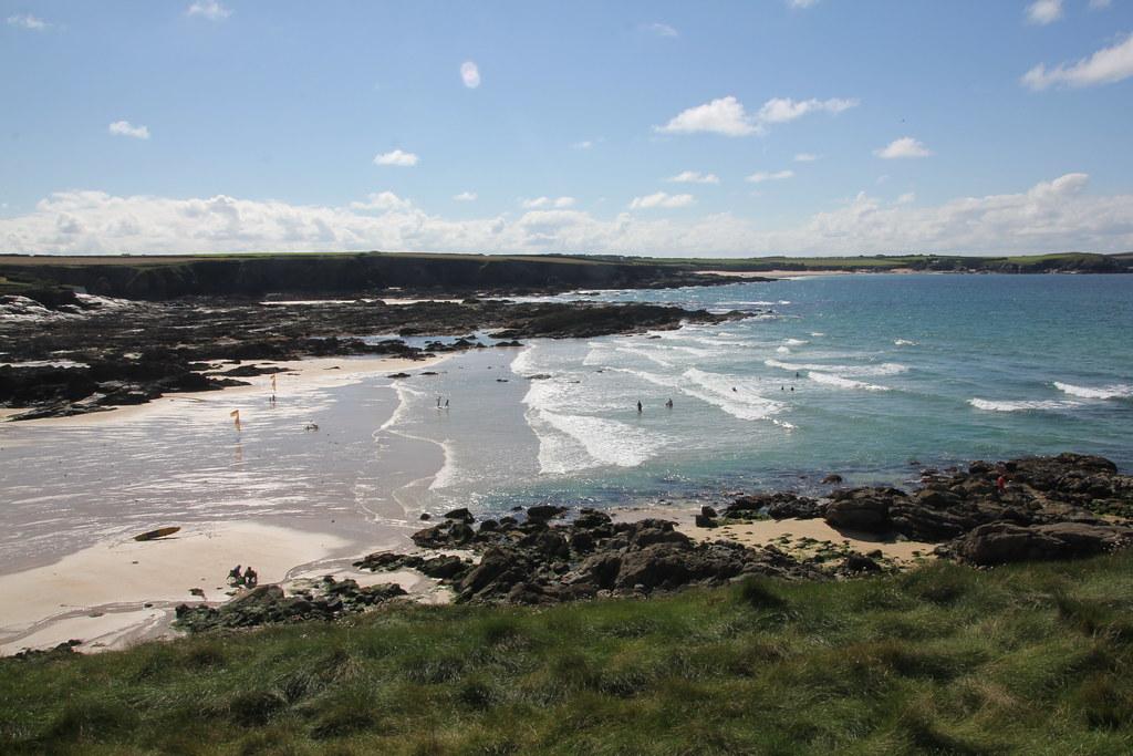 harlyn bay, trevone bay, trevone round hole, wild swimming, body boarding, the view, berryfields farm