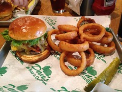The Buddha Burger With Onion Rings