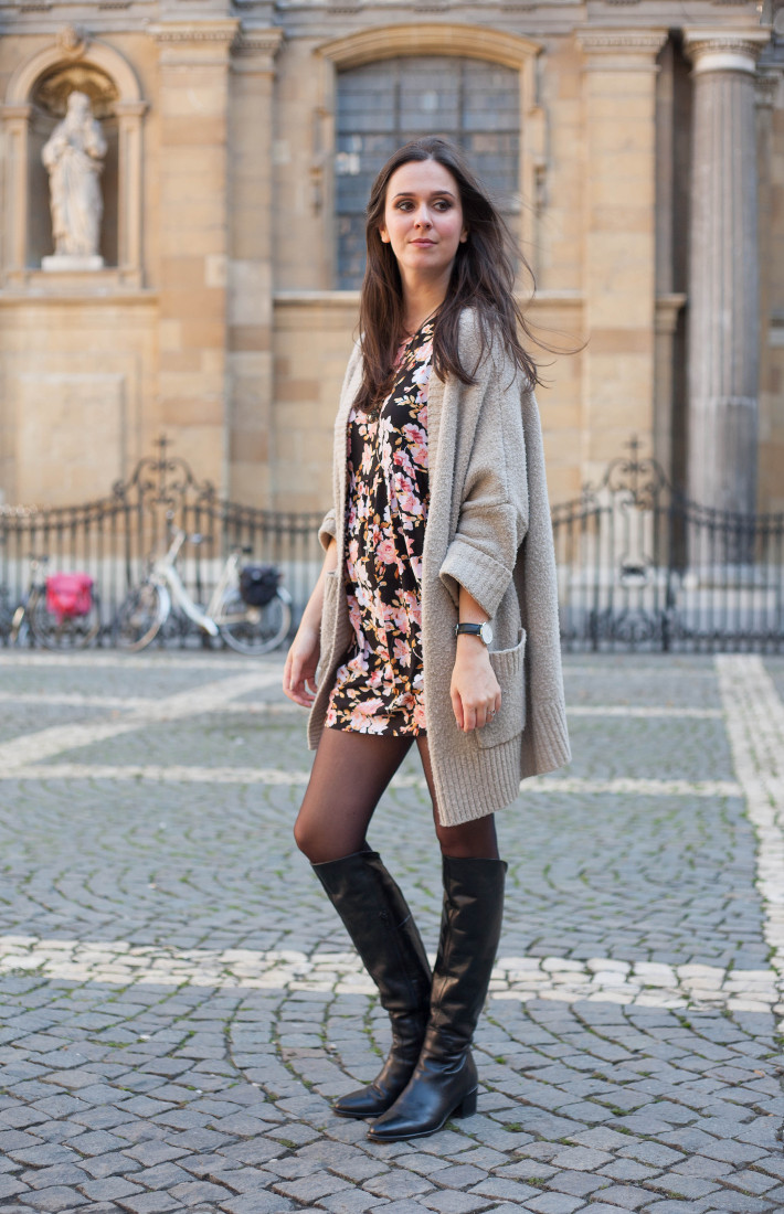 Outfit: Floral babydoll dress, oversized knit cardigan and over knee boots