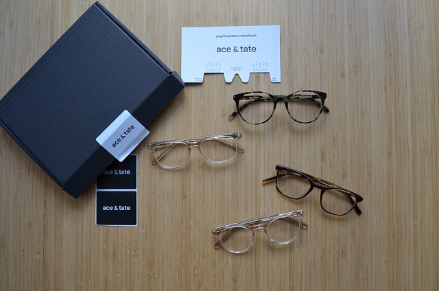Ace & Tate eyeglasses box frames and pupillary distance measurement tool