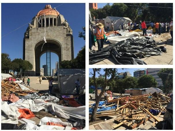 Limpian campamento de CNTE en Monumento a la Revolución