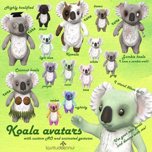 lassitude & ennui Koala avatars for Gacha Garden