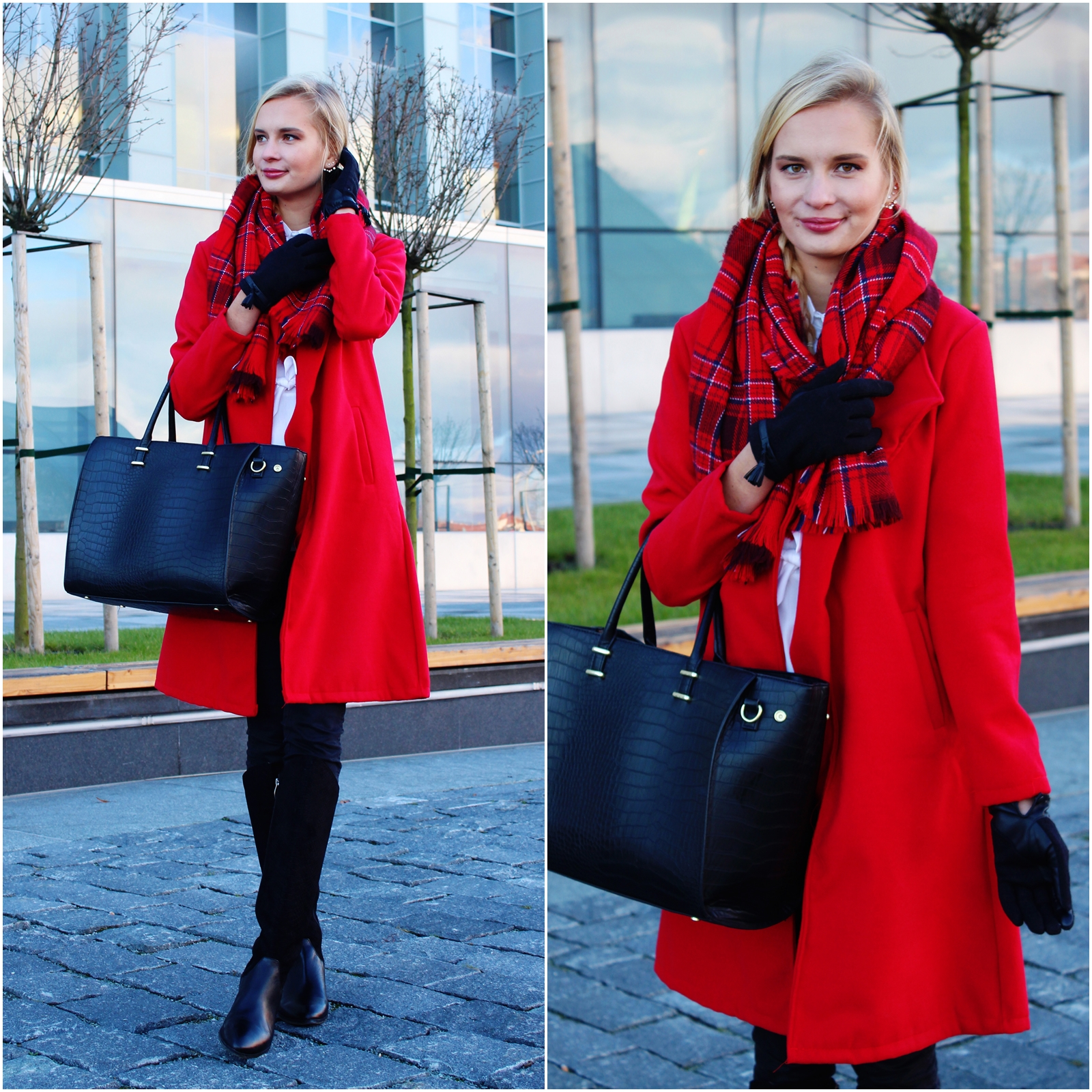 Tartan scarf and red coat