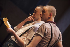 Brian Vernel (Paul) and Alex Austin (Jan) in Barbarians at the Young Vic :copyright:Ellie Kurttz