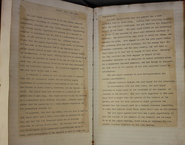 War Memorial Committee Minutes Book 30.06.1922