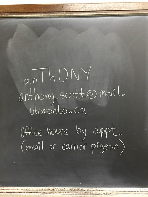 Blackboard showing contact details