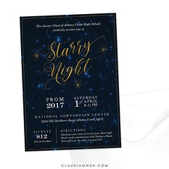 A custom prom invitation I recently worked on. Golden stars on a night sky :milky_way: #prom #invitation #stationerydesigner