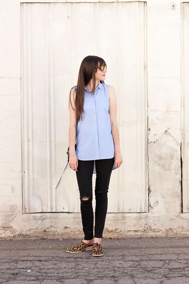 Gap Black Skinny Jeans, Madewell Shirt, Leopard Mules