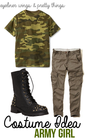 Easy college halloween costume ideas part one easy college halloween costumes army girl eyelinerwingsandprettythings solutioingenieria Image collections