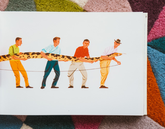 an illustrated life: 4 men holding a snake