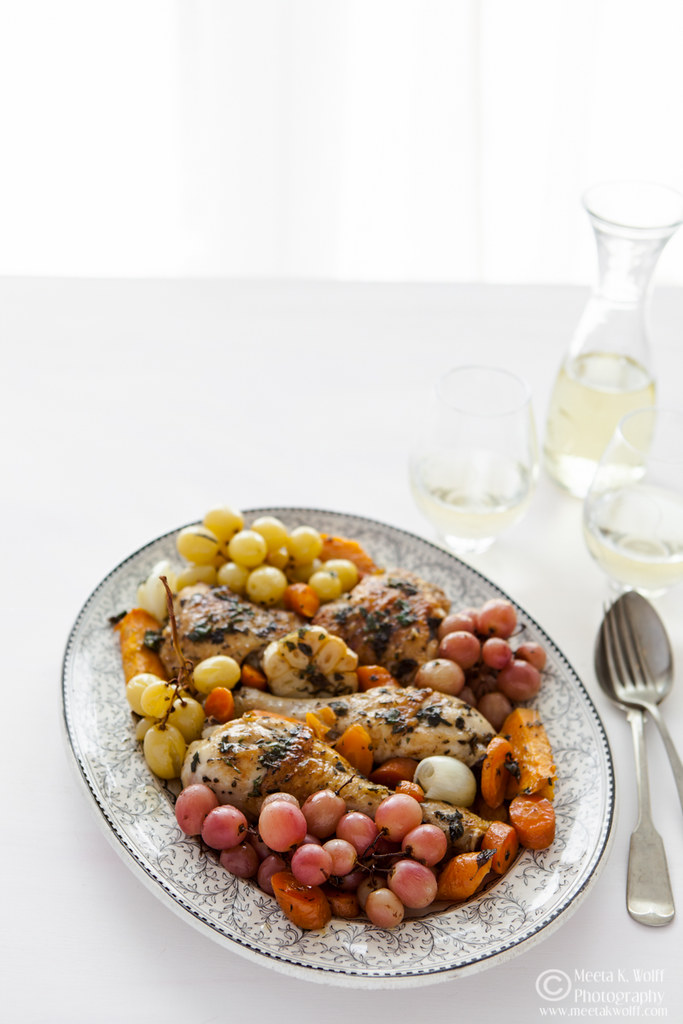 Wine Braised Herb Chicken with roasted grapes (0067) by Meeta K Wolff