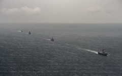 USS Fort Worth (LCS 3) and ships from the Bangladesh Navy gather in formation during Cooperation Afloat Readiness and Training (CARAT) Bangladesh 2015. (U.S. Navy/MC2 Joe Bishop)