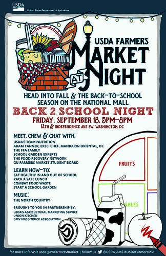 USDA Farmers Market at Night Back-to-School Night poster