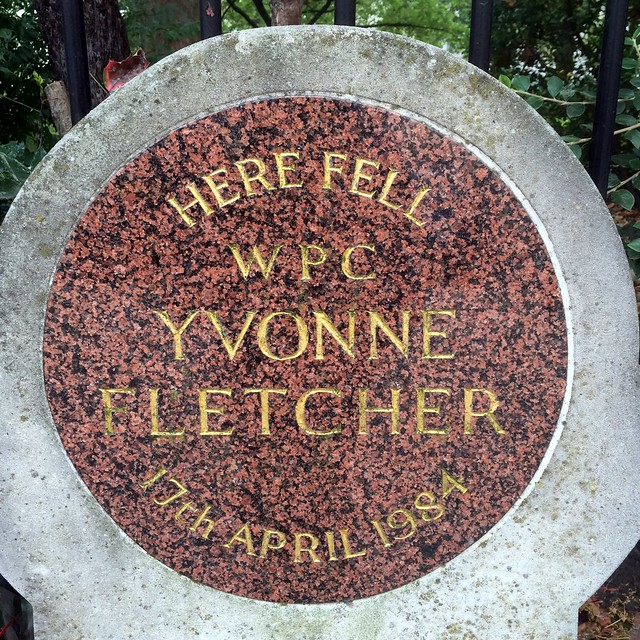 Yvonne Fletcher red plaque - Here fell WPC Yvonne Fletcher 17th April 1984