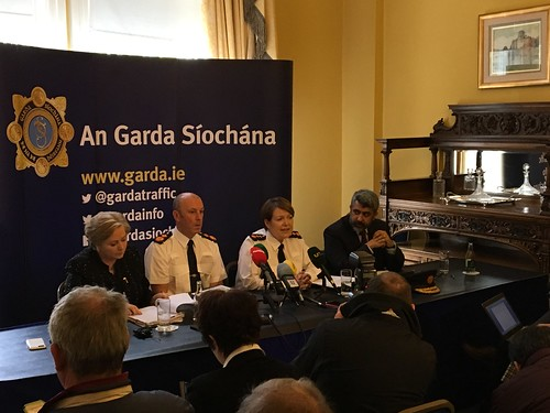 At the launch of Operation Thor at Garda Head Quarters are L-R Minister for Justice Frances Fitzgerald, Deputy Garda Commissioner John Twomey, Garda Commissioner Nóirín O'Sullivan and Gurchand Singh, head of the Garda analysis service