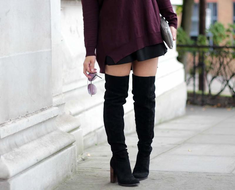 kurt geiger black knee high boots sindy