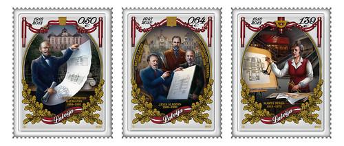 """Pastmarku sērijas """"Latvijas Republikai 100"""" arhitektiem veltītās pastmarkas"""
