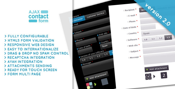 CodeCanyon Ajax Contact Form with attachments v2.0.6