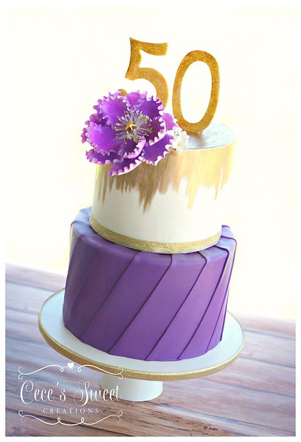 Two Tier 50th Birthday CakePurple And Gold By Ceces Sweet Creations