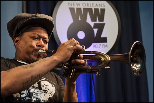 Kermit Ruffins performs during WWOZ Spring pledge drive day 3 on March 16, 2017. Photo by Ryan Hodgson-Rigsbee www.rhrphoto.com