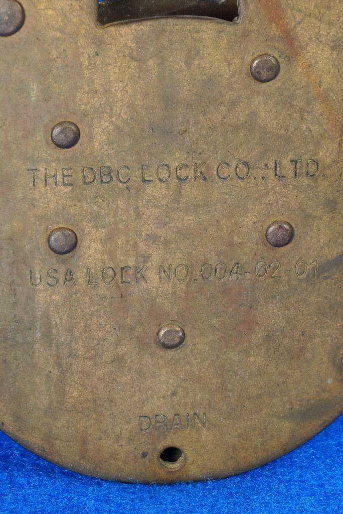 RD15222 Admiralty 4 Lock USA 4 Brass Levers DBC Lock Co LTD 004-02-01 Steampunk DSC08837