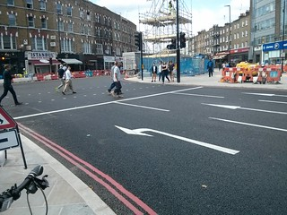 Stop line on approach to Camden High Street