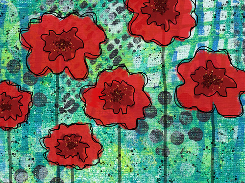 Digital painting with poppies