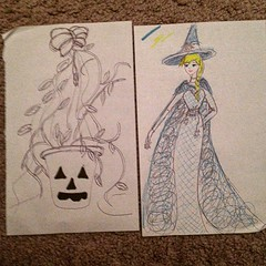 #inktober2015#inktober #day2 #inktoberday2 #blue#black#yellow#purple#ink#drawing#2015#october #pumpkin#jackolantern#vines#plants#elsa#witch#paper#pen#highlighter#highlighters