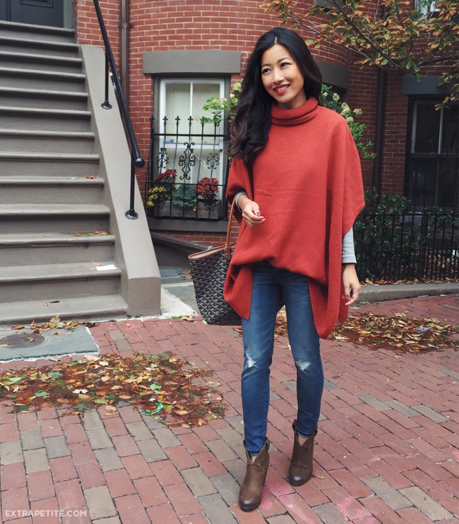 rust poncho sweater fall casual outfit