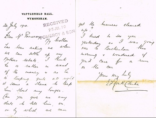 Letter from Edward F Routh Clarke, Wymondham, Norfolk, to Pomeroy, Solicitors, 24th July 1910