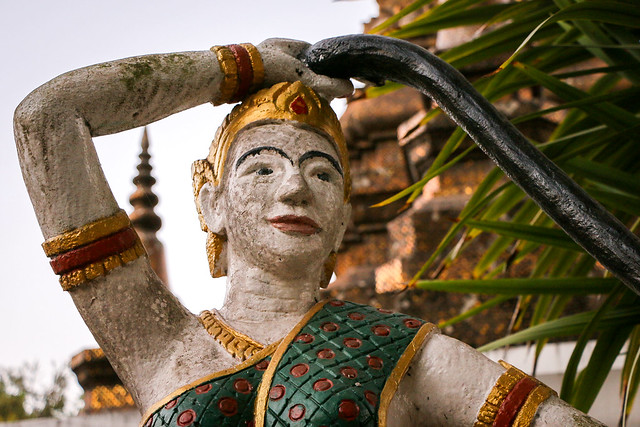 Phra Mae Thorani goddess in Wat That Luang, Luang Prabang, laos ルアンパバーン、ワット・タートルアンの女神像