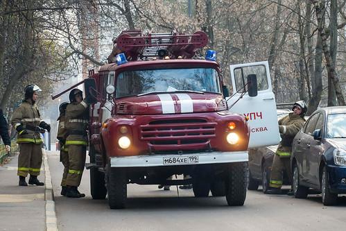 Пожар в офисном здании в Химках