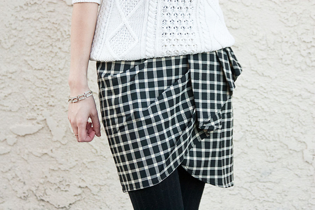 Black and White Plaid Skirt, Cable Knirt Sweater