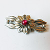 Vintage Kreisler Sterling Silver Flower Brooch w/ Red Moonglow Cabachon
