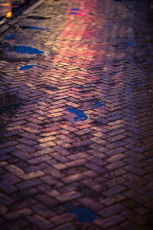 colors, bricks, and puddles