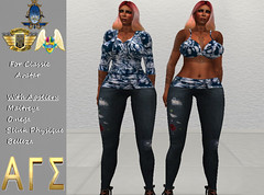 AGS INC. Womens Blue Tye Dyed Outfit Set with Appliers