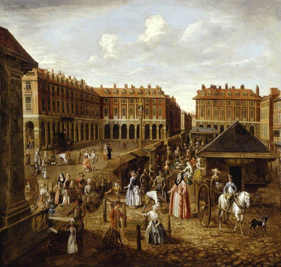 Covent Garden Piazza and Market, London by Joseph van Aken, 1730