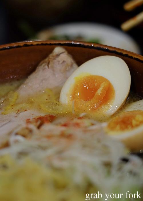 Misono soft boiled egg at Sapporo Ramen Kyowakoku or Sapporo Ramen Alley, Hokkaido