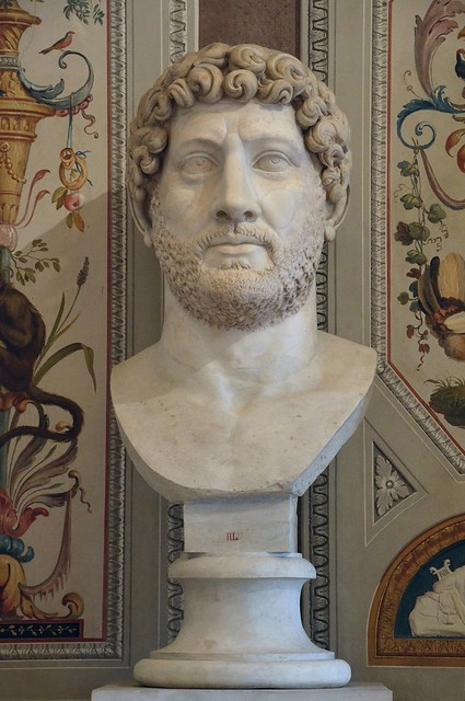 Colossal portrait of Hadrian, Luni Marble, 140 AD (after his death), Galleria Borghese, Rome