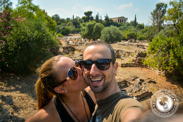 A Cruising Couple at Temple Of Hephaestus Athens Greece