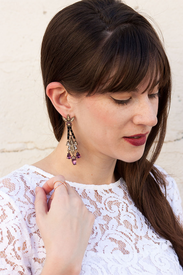Statement Earrings, Wanderlust and Co Ring, Burgundy Lipstick