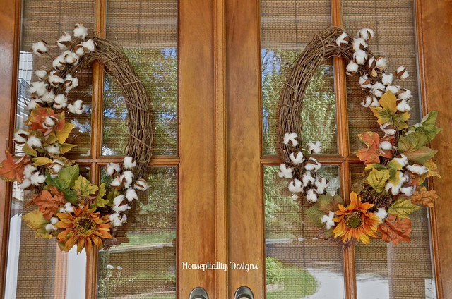 Fall leaves and cotton wreaths - Housepitality Designs