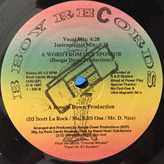 BOOGIE DOWN PRODUCTIONS:THE BRIDGE IS OVER(LABEL SIDE-B)