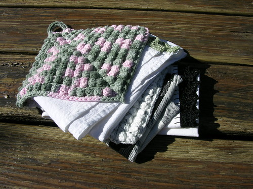 pink & green and black & white woven tea towel, crochet bobble and border