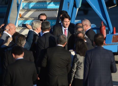 Canadian Prime Minister Justin Trudeau arrives in Turkey